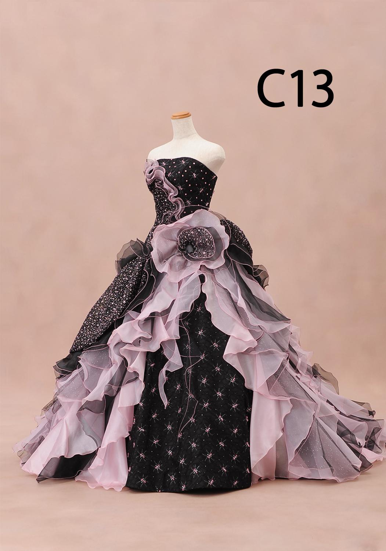 ブラックピンクドレス