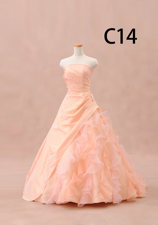 サーモンピンクドレス