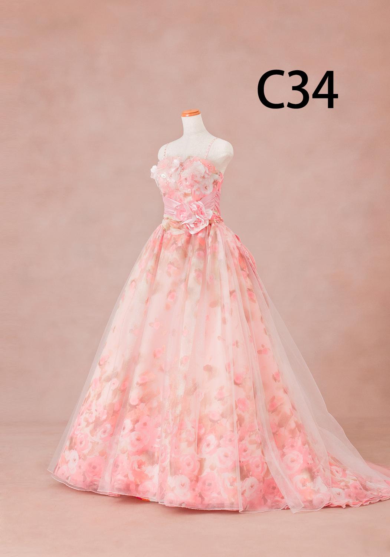 ピンク花柄ドレス